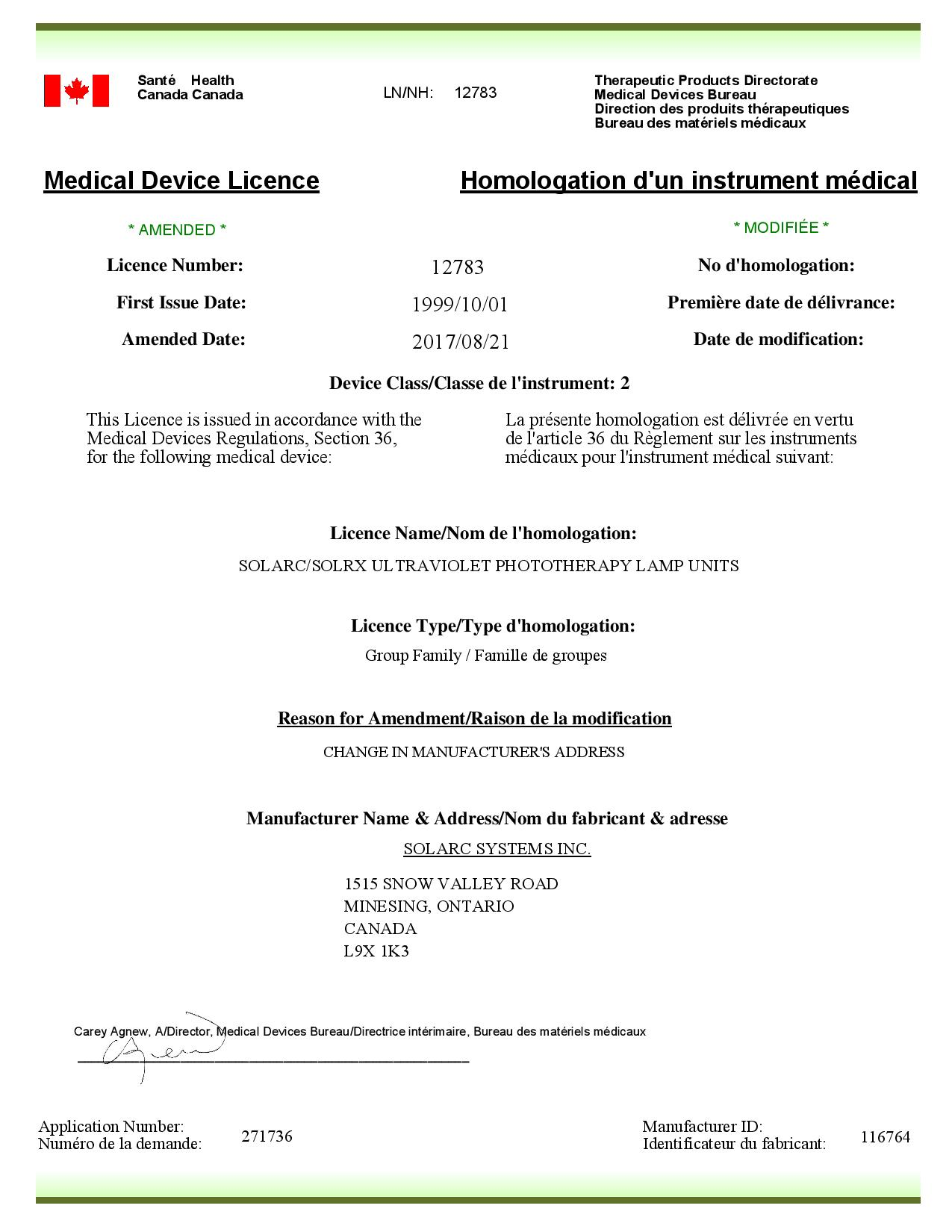 Solarc Health Canada Device Licence 12783 Change Postal Code 2017 08 21 page 001 Solarc Systems FDA