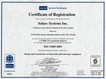 iso 13485 phototherapy Solrx 500-Series
