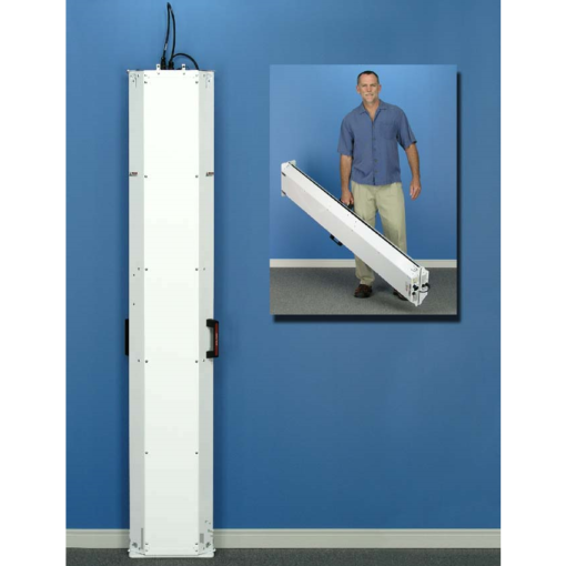 2 E-series devices (1 master and 1 add-on) folded in on each other leaning against a wall, with a secondary image of a man lifting them easily